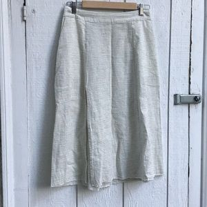Zara Striped Side Slit Skirt Button Back Small
